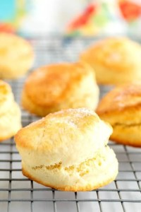 Close up picture of shortcake biscuits on a wire cooling rack.