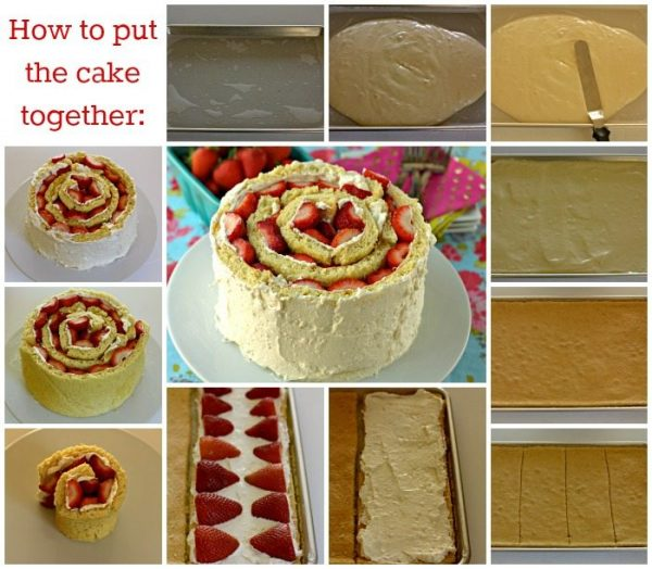A picture collage of step-by-step photos of how to make this strawberry shortcake cake.