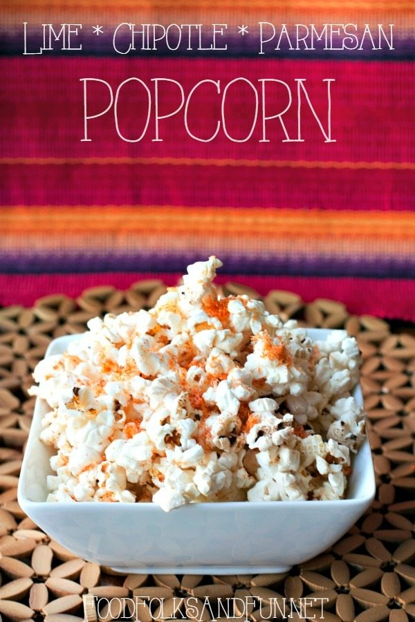 This Lime, Chipotle, and Parmesan Popcorn is an easy snack that is perfect for movie nights. This popcorn has a refreshing and slightly spicy flavor. via @foodfolksandfun