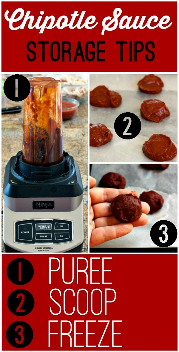 Step by step picture on how to puree and freeze chipotle sauce.