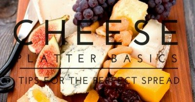 Cheese board with text overlay for social media.