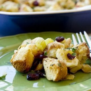 Cranberry Macadamia nut stuffing on a plate