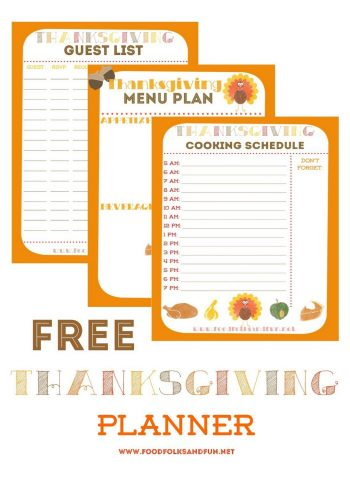 Samples of free printable Thanksgiving planners