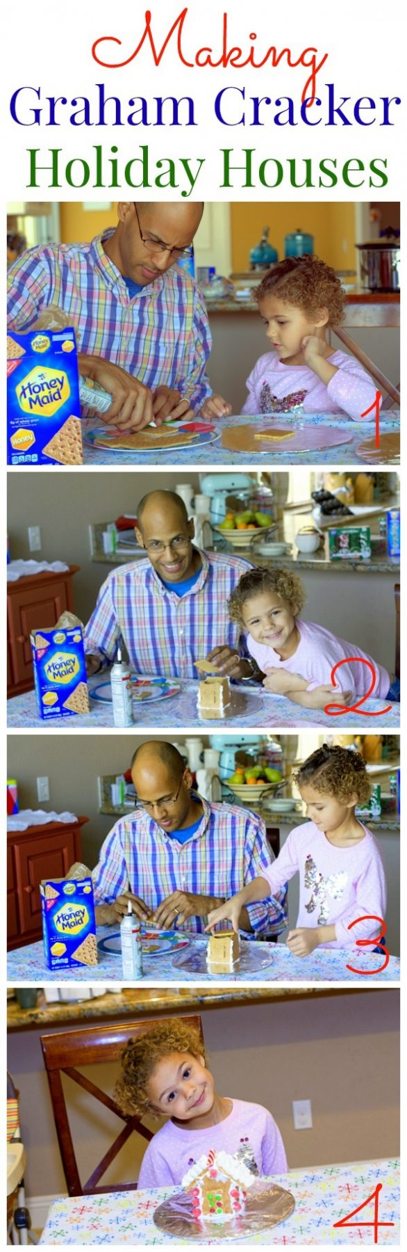 Picture tutorial for how to make Graham Cracker Gingerbread Houses.