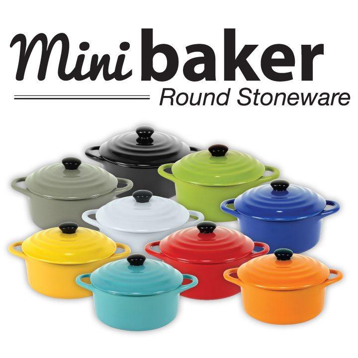 mini baker round stoneware
