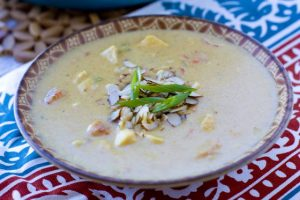 A bowl of Creamy Chicken Curry Soup