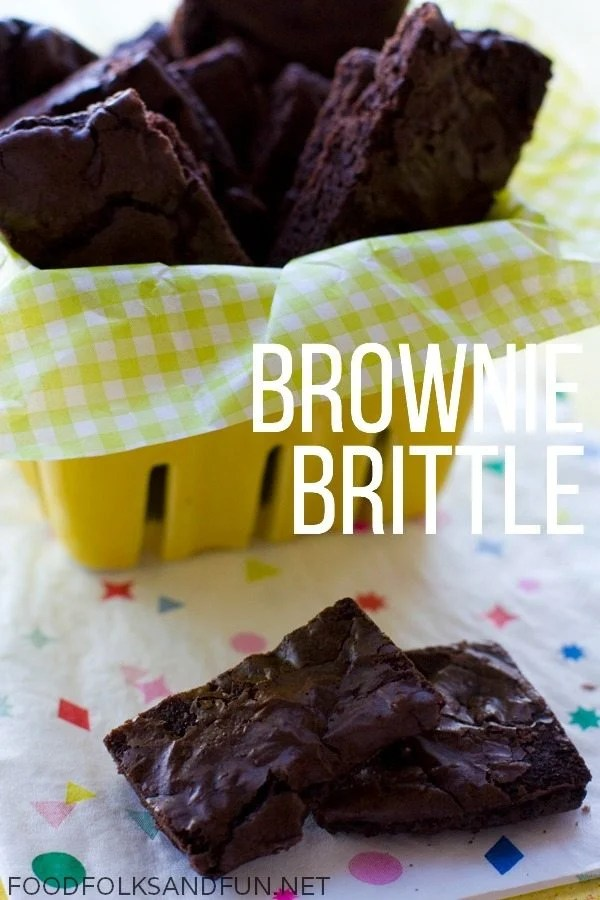 A basket full of brownie brittle.
