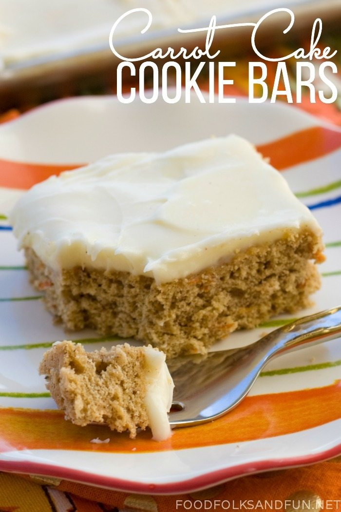 Carrot Cake Cookie Bars with text overlay for Pinterest.