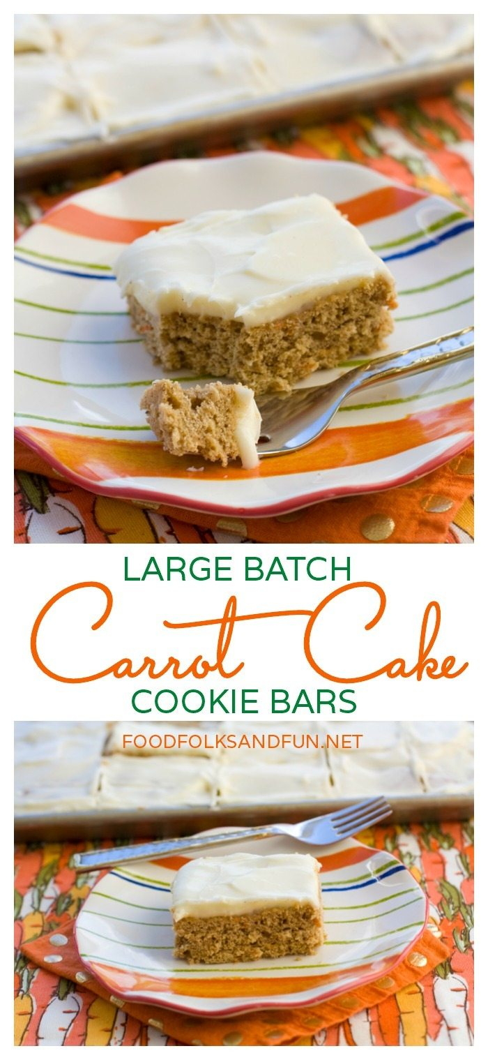 Large Batch Carrot Cake Cookie Bars