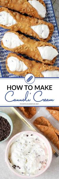 Cannoli filling recipe in a bowl and inside of mini cannoli shells.
