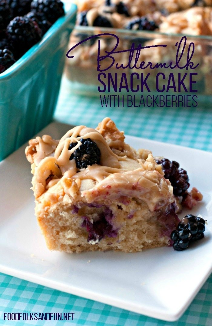 Buttermilk Snack Cake Recipe with Blackberries and Caramel