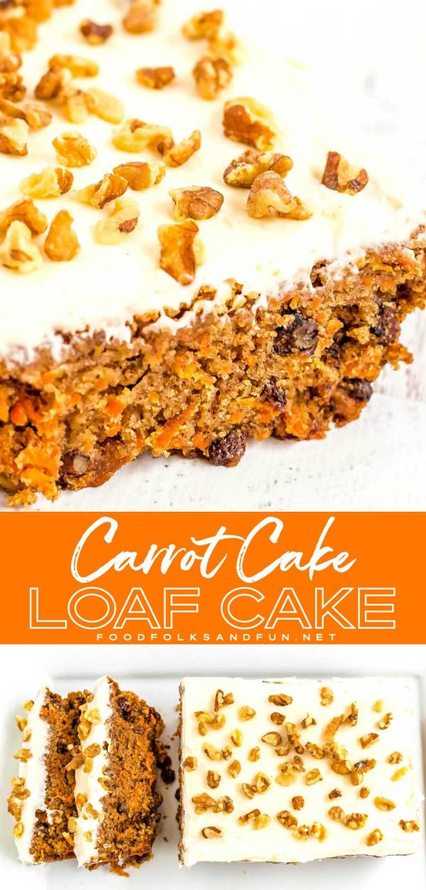 Carrot Cake Loaf with Fluffy Cream Cheese Frosting
