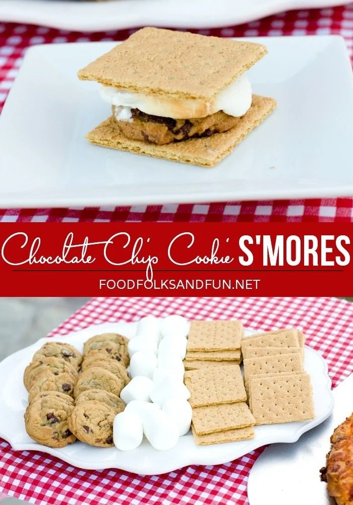 Chocolate Chip Cookie Smores picture collage with text overlay for Pinterest.