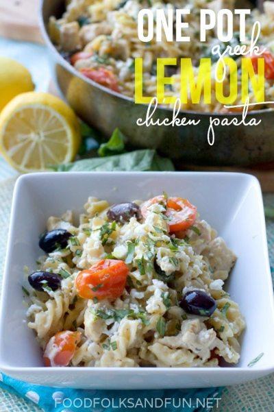 One Pot Greek Lemon Chicken Pasta