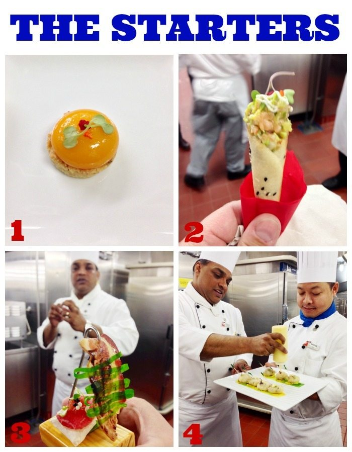 A collage of chef\'s preparing food on a Carnival cruise