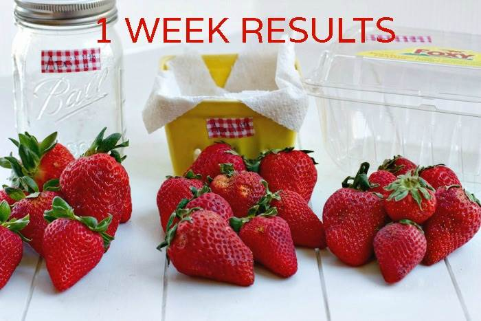 1 week results of strawberries after storing them with text overlay for Pinterest