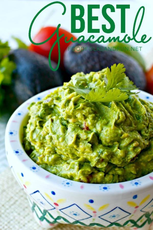 A bowl of homemade guacamole with text overlay for Pinterest
