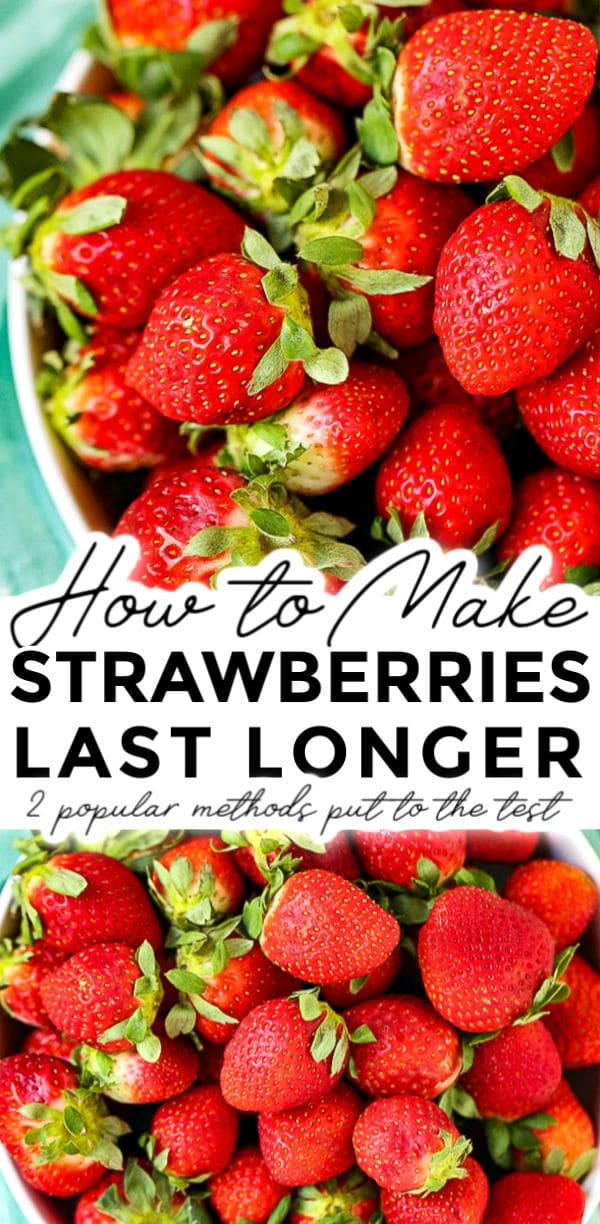 How to make strawberries last longer is a post that puts 2 popular Pinterest methods to the test. Come see which kept strawberries fresh for 3 weeks! via @foodfolksandfun