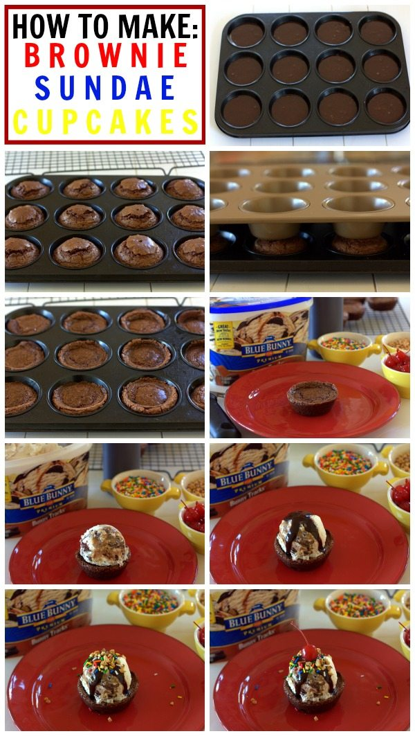 A picture collage showing How to Make Brownie Sundae Cupcakes