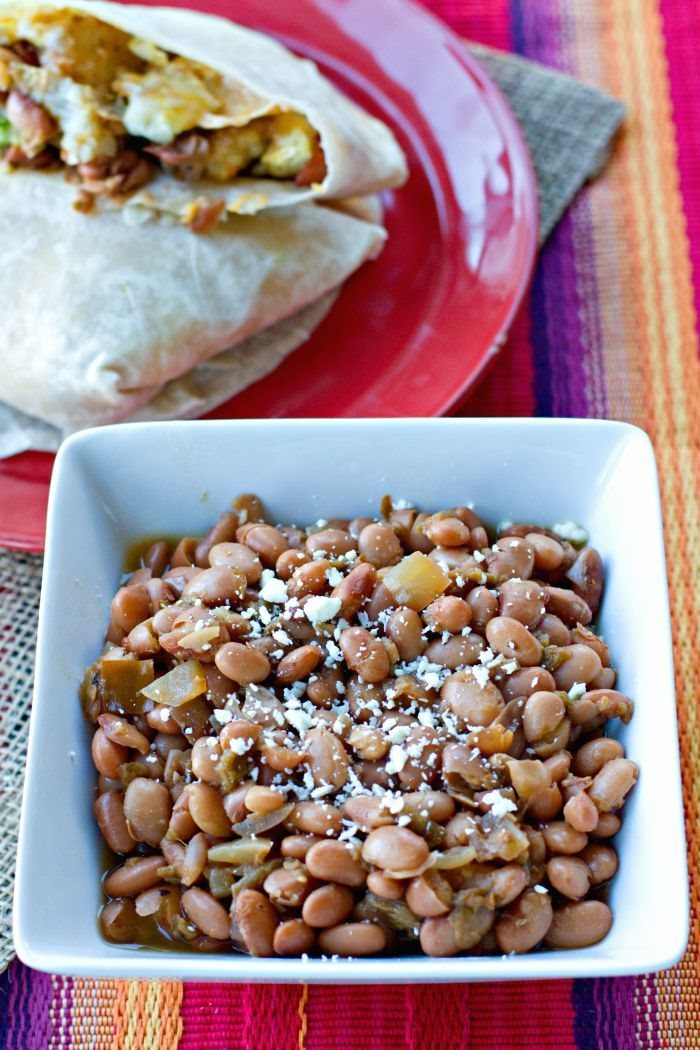 Green Chile Pinto Beans in a bowl