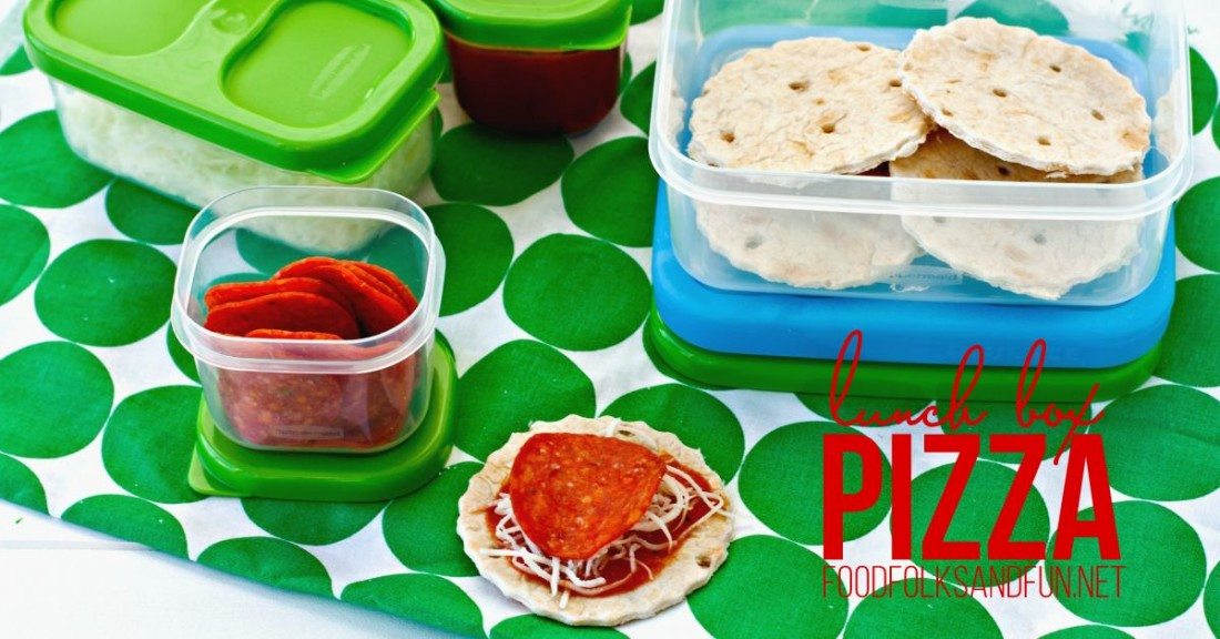 Lunch Box Pizza with text overlay for Pinterest