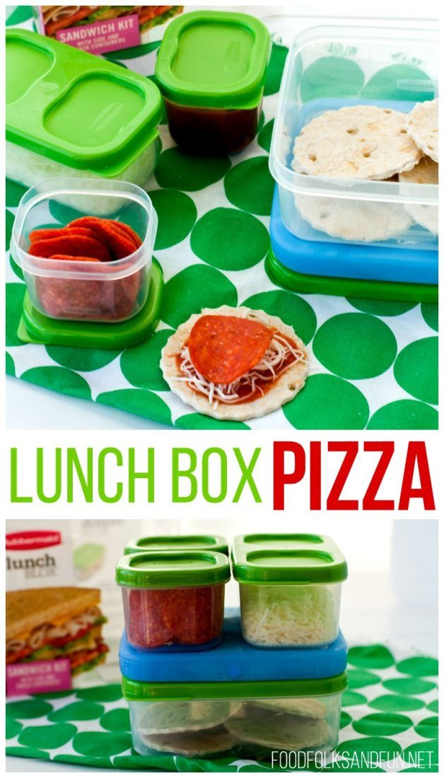 A collage of lunch box pizzas with text overlay for Pinterest