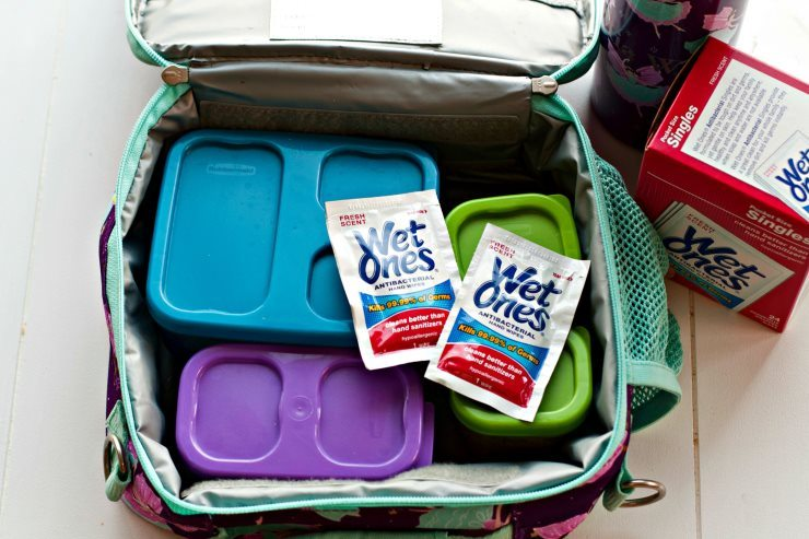 Packing Lunch Box Tacos in a lunchbox with wet wipes