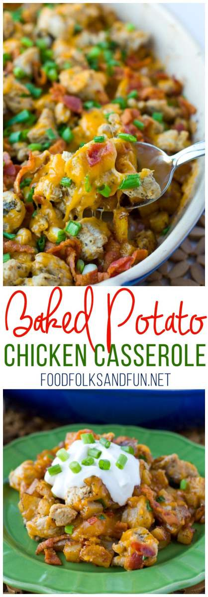 This Loaded Baked Potato Chicken Casserole Recipe is perfect for weeknight family dinners. It's a family-favorite and some serious comfort food!