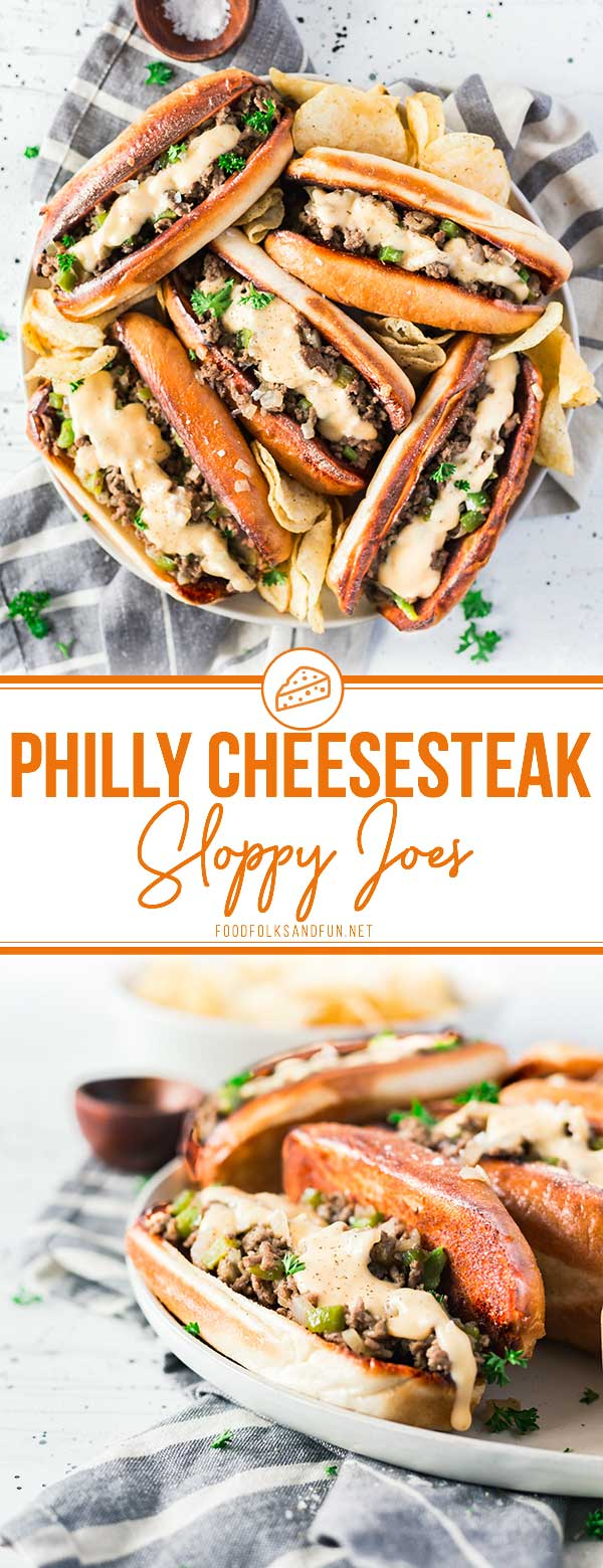 These Philly Cheesesteak Sloppy Joes are serious comfort food. They make a great weeknight meal or tasty game day snacks, and they cost just $2.02 per serving! 20 minutes is all you need to make this recipe! via @foodfolksandfun