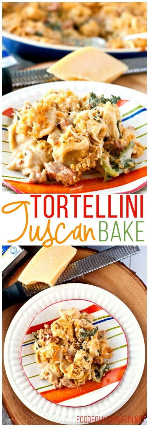 I took the classic flavors of Zuppa Toscana and made it into this family-friendly Creamy Tuscan Tortellini Bake recipe.