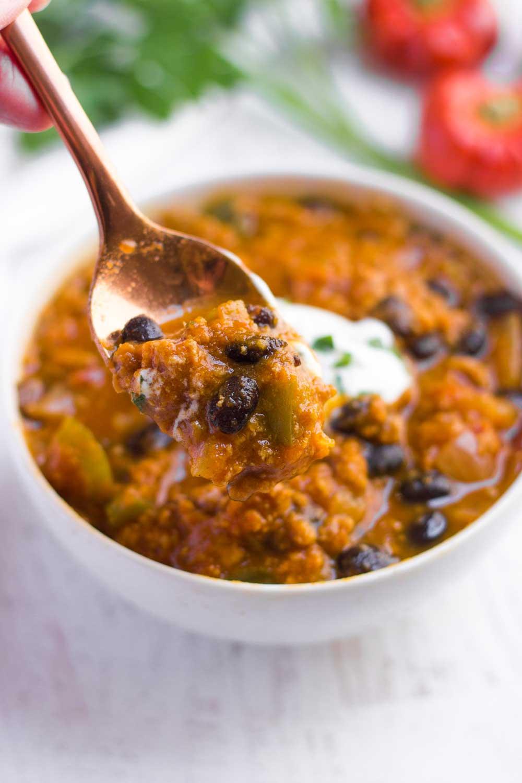 A spoonful of pumpkin chili