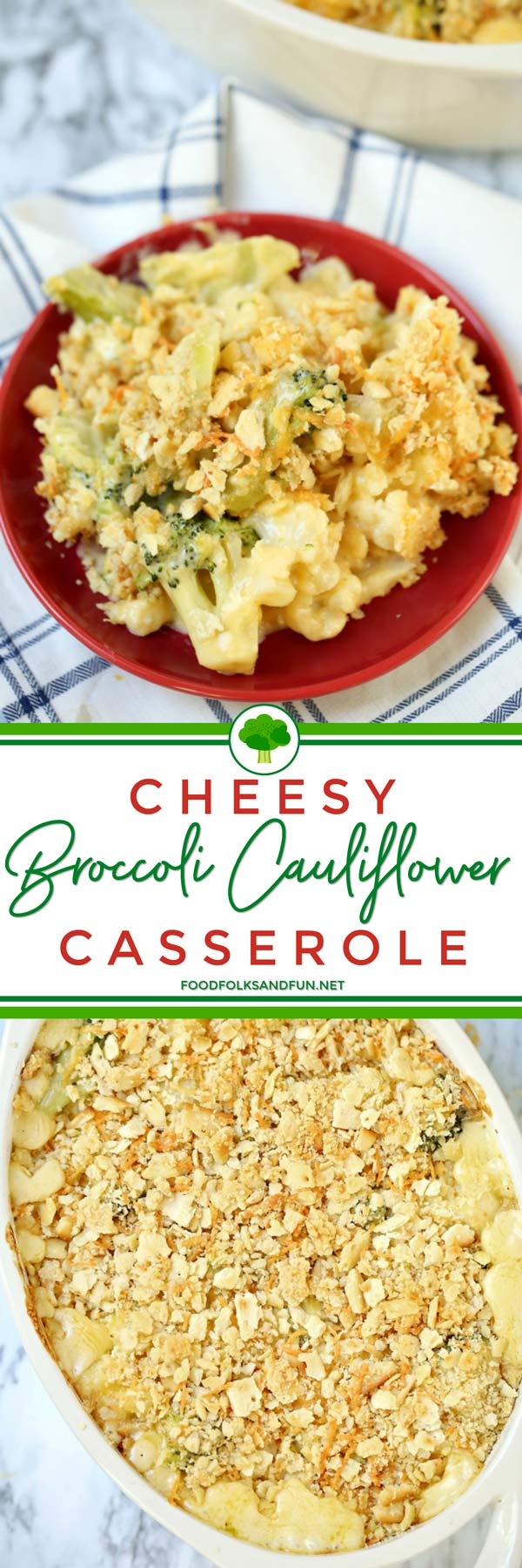 This Cheesy Broccoli Cauliflower Casserole is not only delicious but super quick & easy to make, too! Whether you're hosting Thanksgiving or need a side dish to bring, this recipe will be a great addition to any Thanksgiving dinner! via @foodfolksandfun