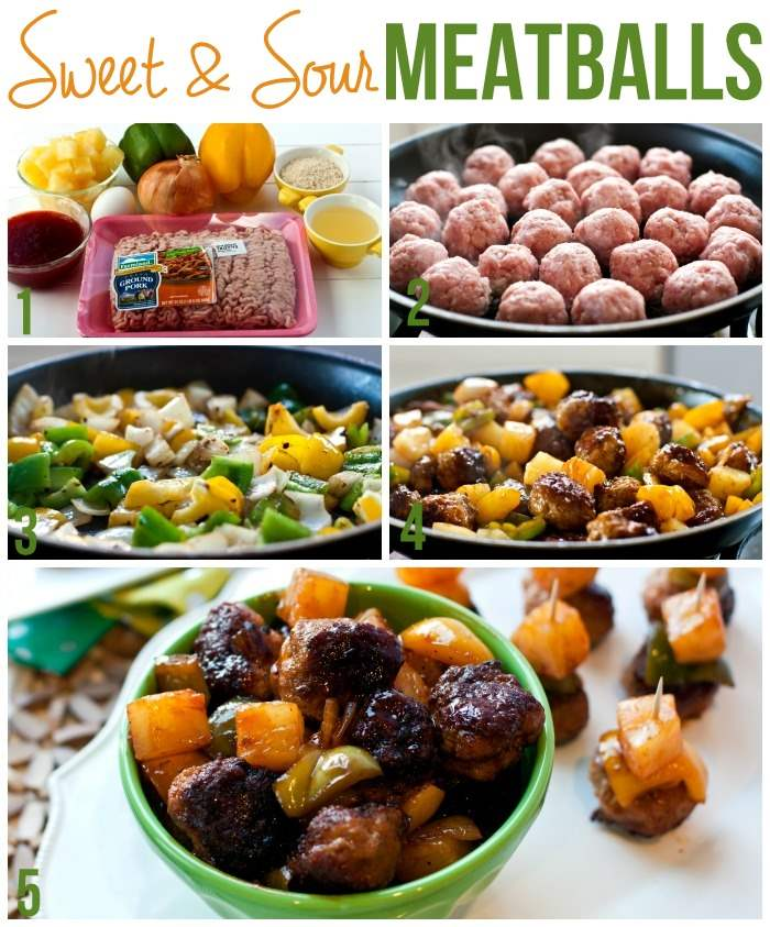 A collage of sweet and sour cocktail meatballs with text overlay for Pinterest