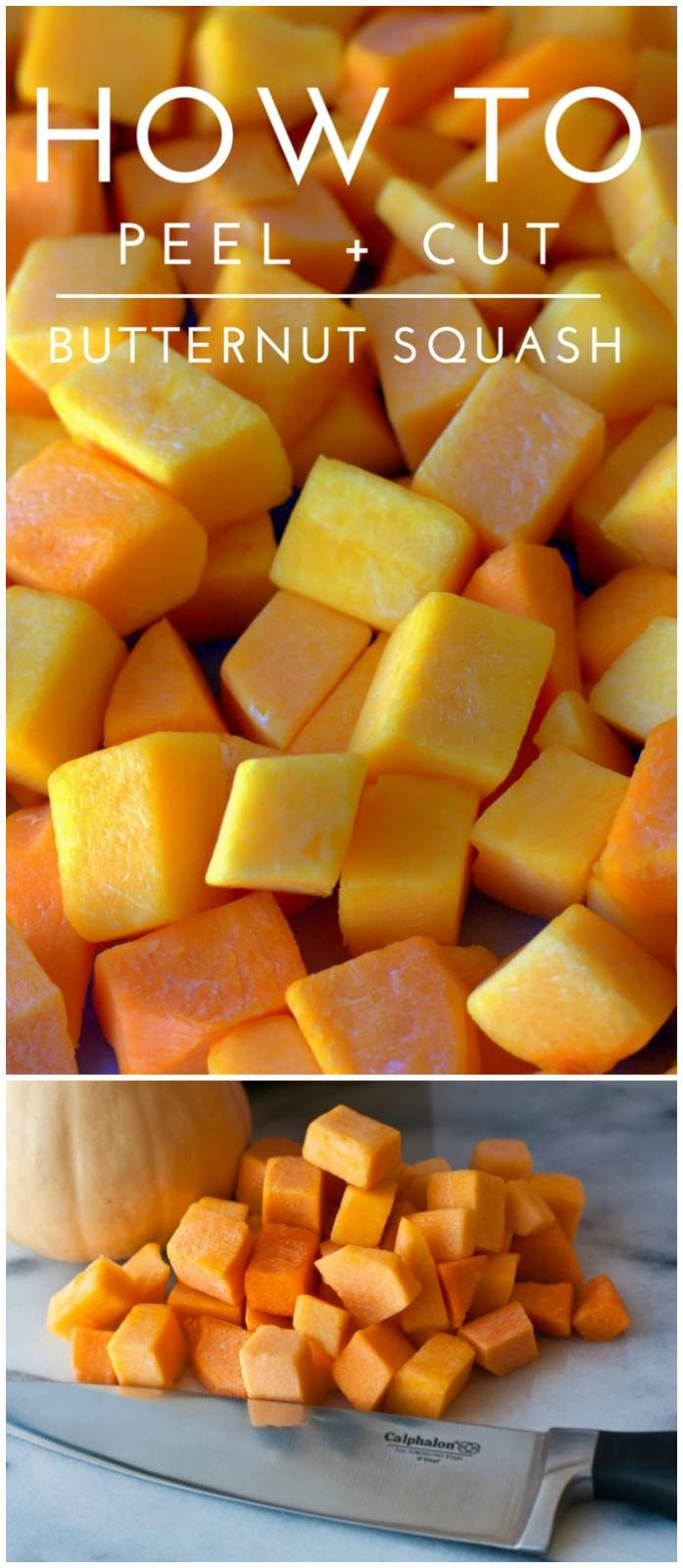 A collage of cut butternut squash with text overlay for Pinterest