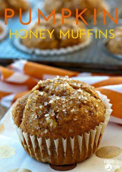 Pumpkin muffin on a polkadot napkin.
