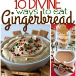 A collage of gingerbread desserts with text overlay for Pinterest
