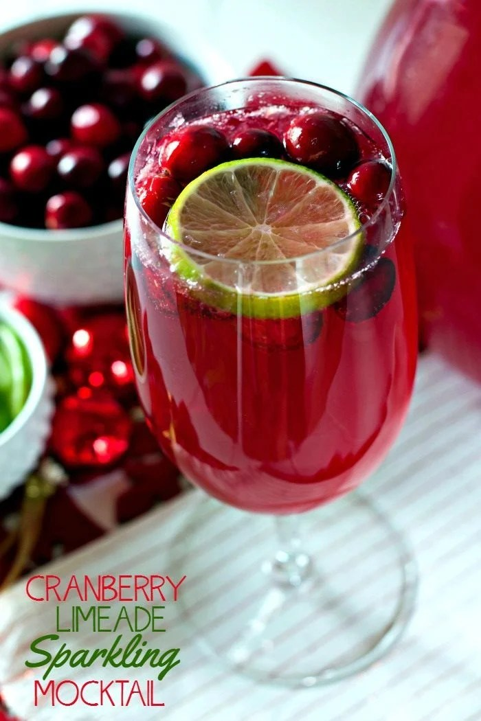 Sparkling Cranberry Mocktail in a pretty glass.