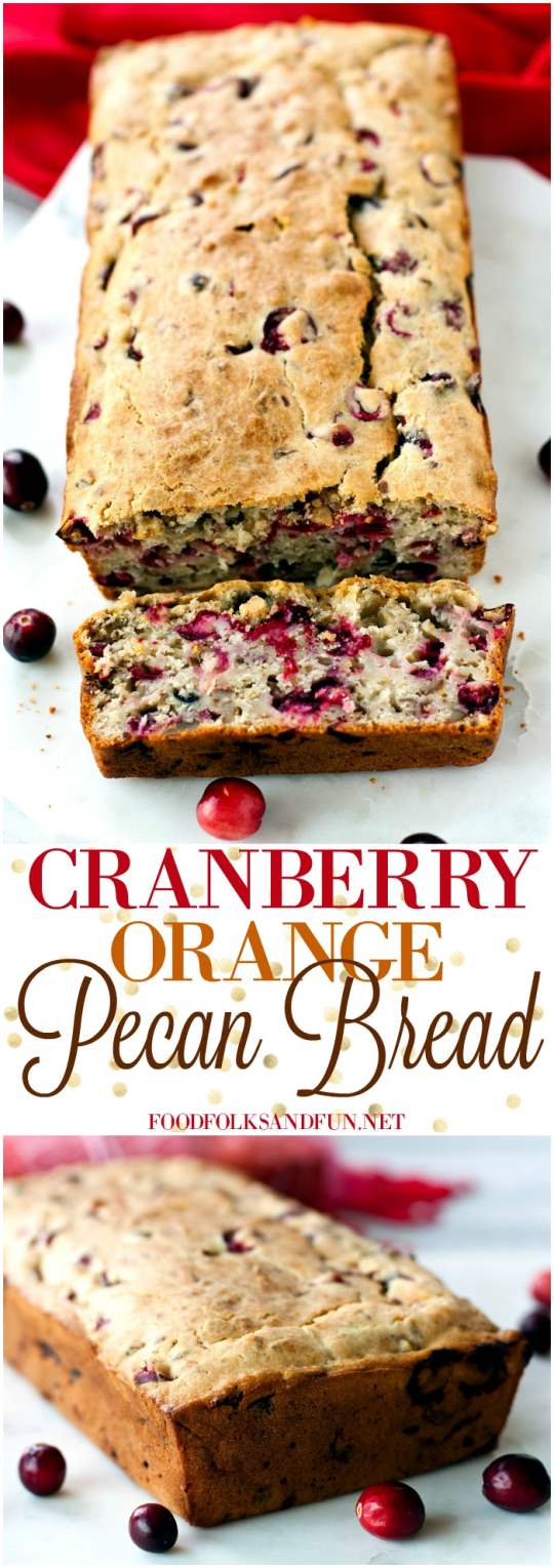 Picture collage of Cranberry Orange Pecan Bread.