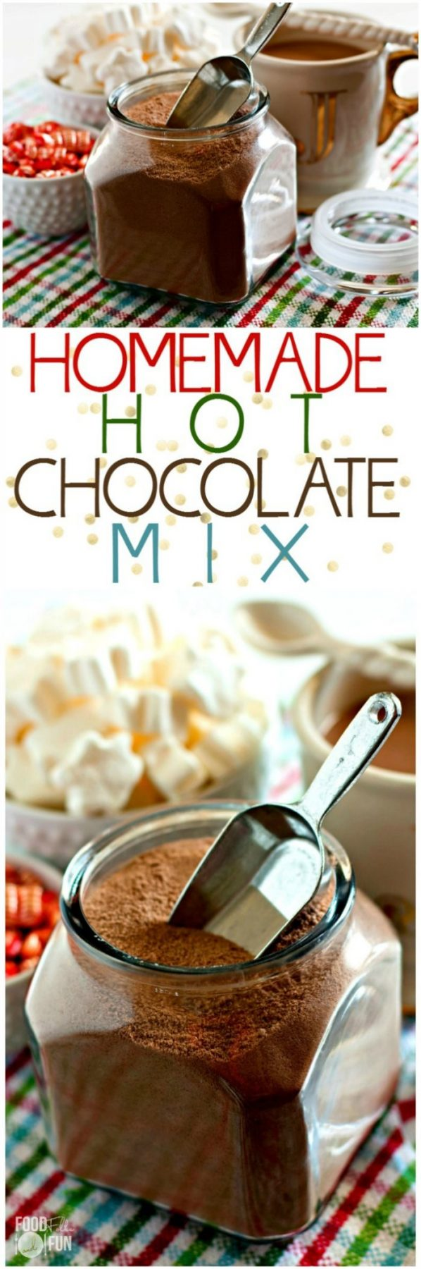 Picture collage of hot chocolate mix for Pinterest.