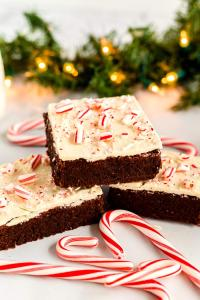 Peppermint brownies surrounded by candy canes.