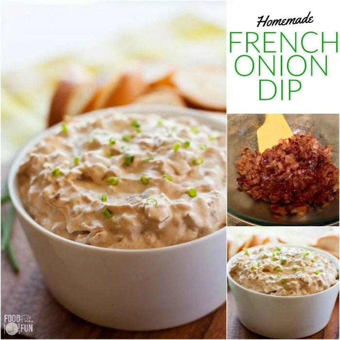 Picture collage of the onion dip along with a picture of the caramelized onions.