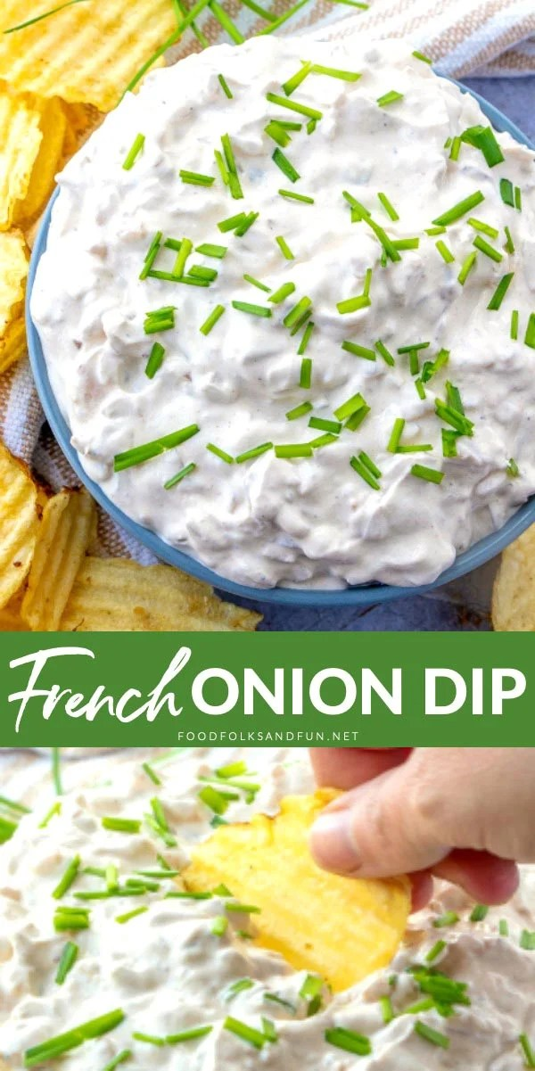 This homemade French Onion Dip recipe will make you ditch the packet for good! It's so creamy and tasty that people will be begging you for the recipe! via @foodfolksandfun