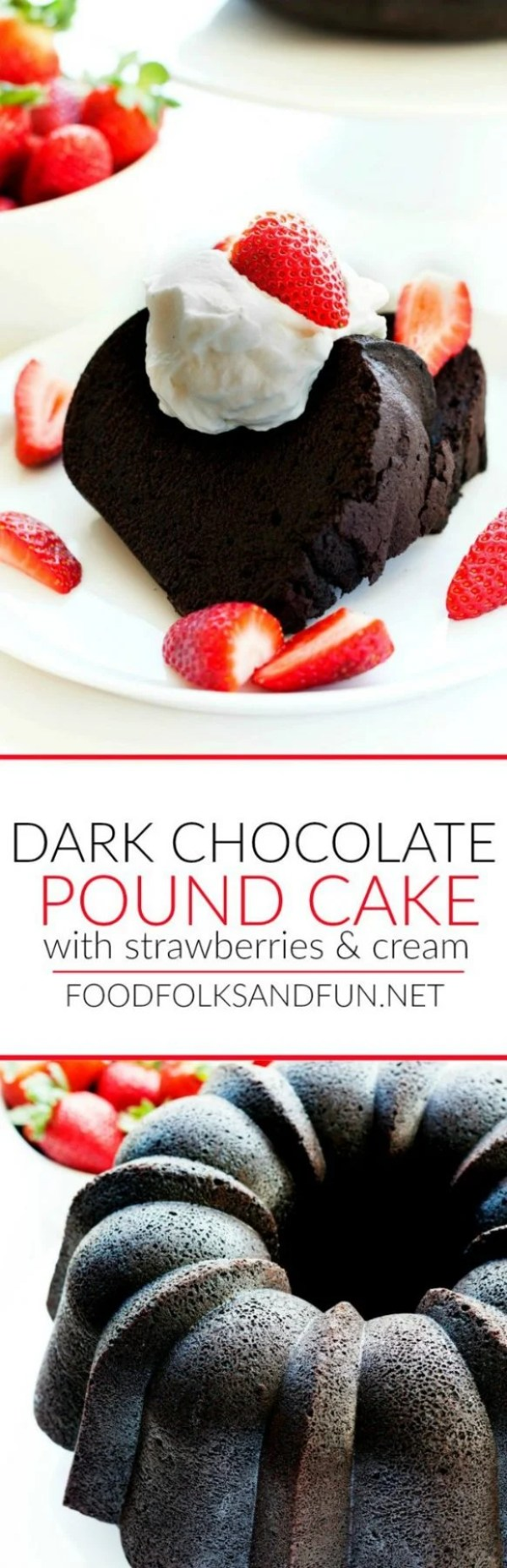 Picture collage of Dark Chocolate Pound Cake for Pinterest.