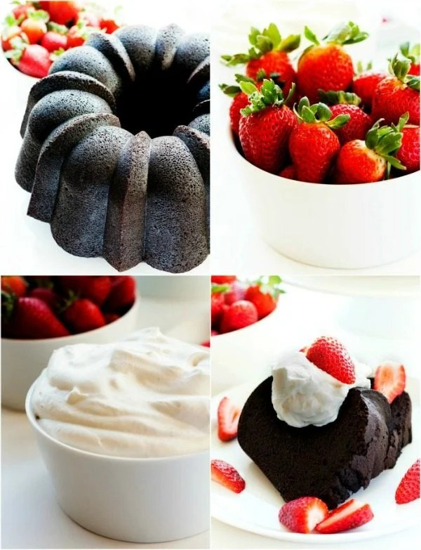 Picture collage of the entire pound cake, strawberries, whipped cream, and sliced pieces of pound cake.