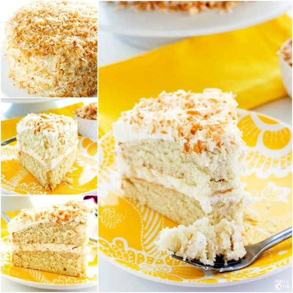 Picture collage of coconut cream cake.