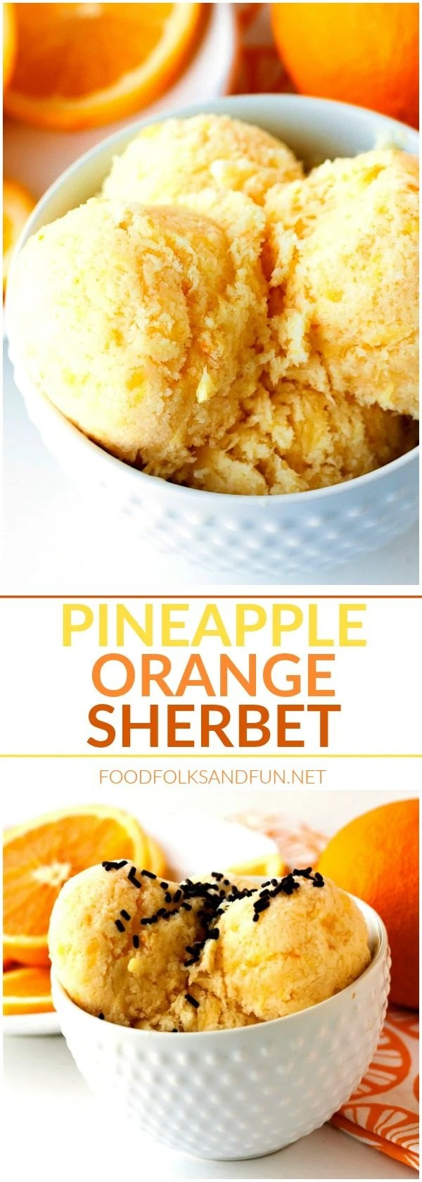 Picture collage of orange sherbet.