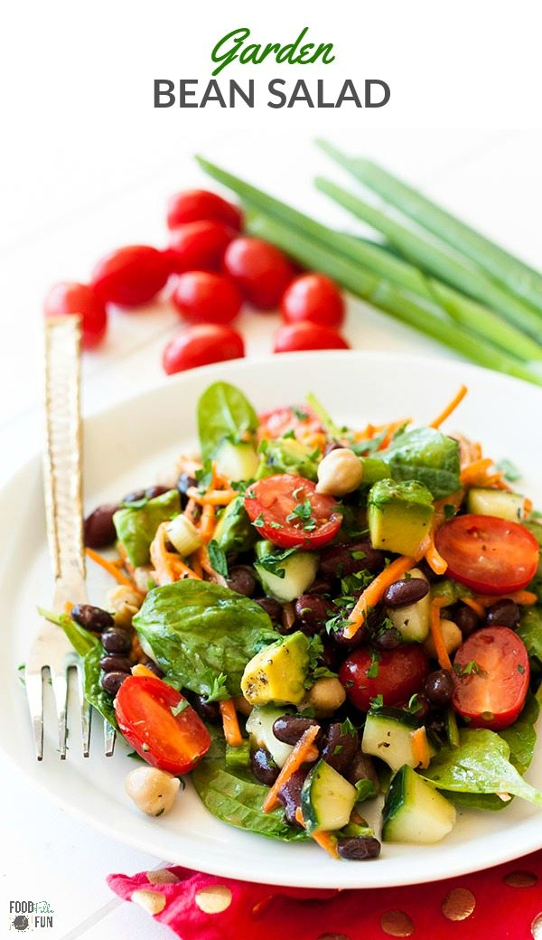 Finished garden bean salad with text overlay for Pinterest.