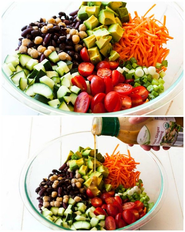 The salad ingredients in a bowl before they're tossed.