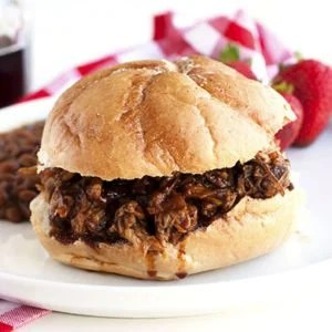 Slow Cooker Root Beer Pulled Pork on a plate