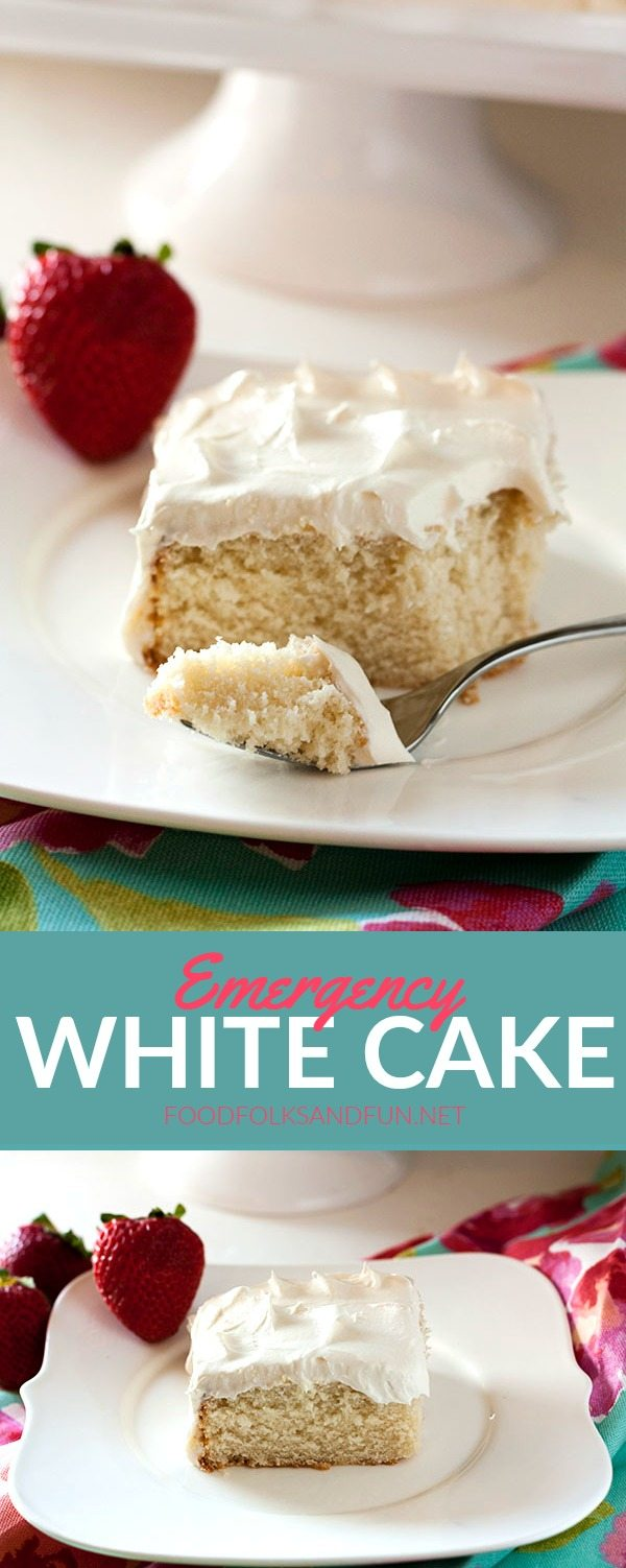 A collage of Emergency White Cake with text overlay for Pinterest